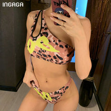 INGAGA One Shoulder Bikini 2019 Push Up Swimsuit Women Leopard Print Swimwear Bathing Suit Sexy Micro Bathers Biquini
