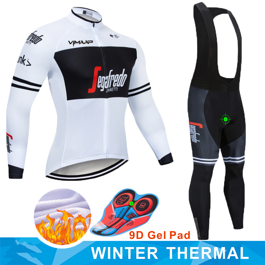 2019 treking Professional team Men Fluorescent green Winter long sleeves Windproof and warm Fleece cycling clothing set