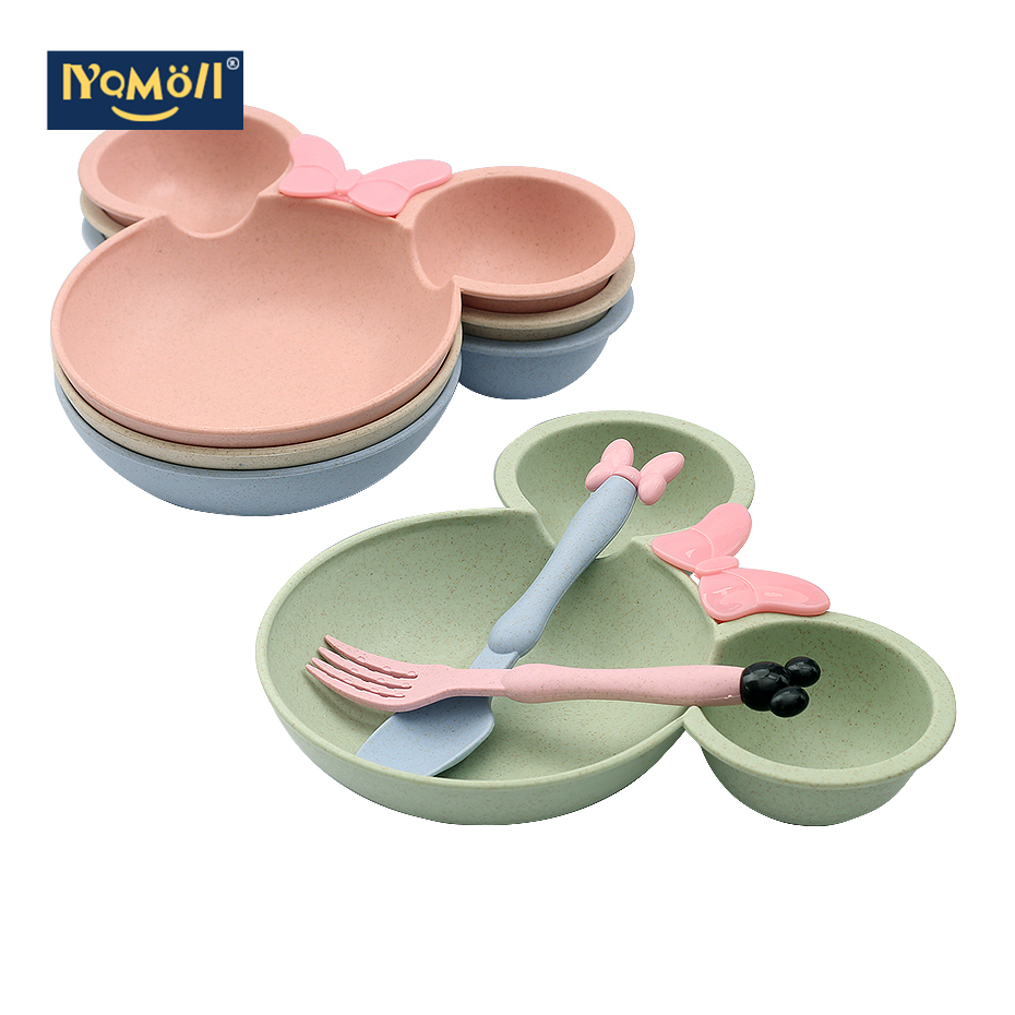 Children's Cartoon Tableware Set Infant Tableplate Infant Training Bowl, Spoon And Fork Children's Tableplate