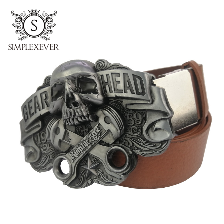 Antique Silver Skull Belt Buckle Cross Skull Men's Belt Buckle With Leather Belt, Belt Buckle Accessories For Women