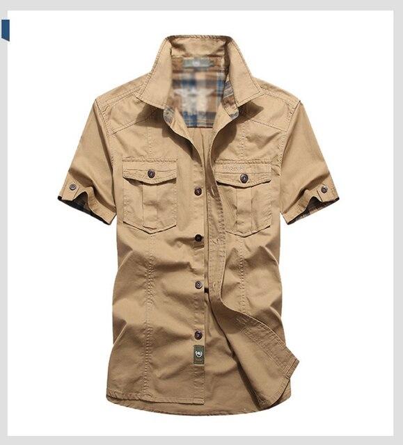 Летняя рубашка с коротким рукавом в военном стиле 6