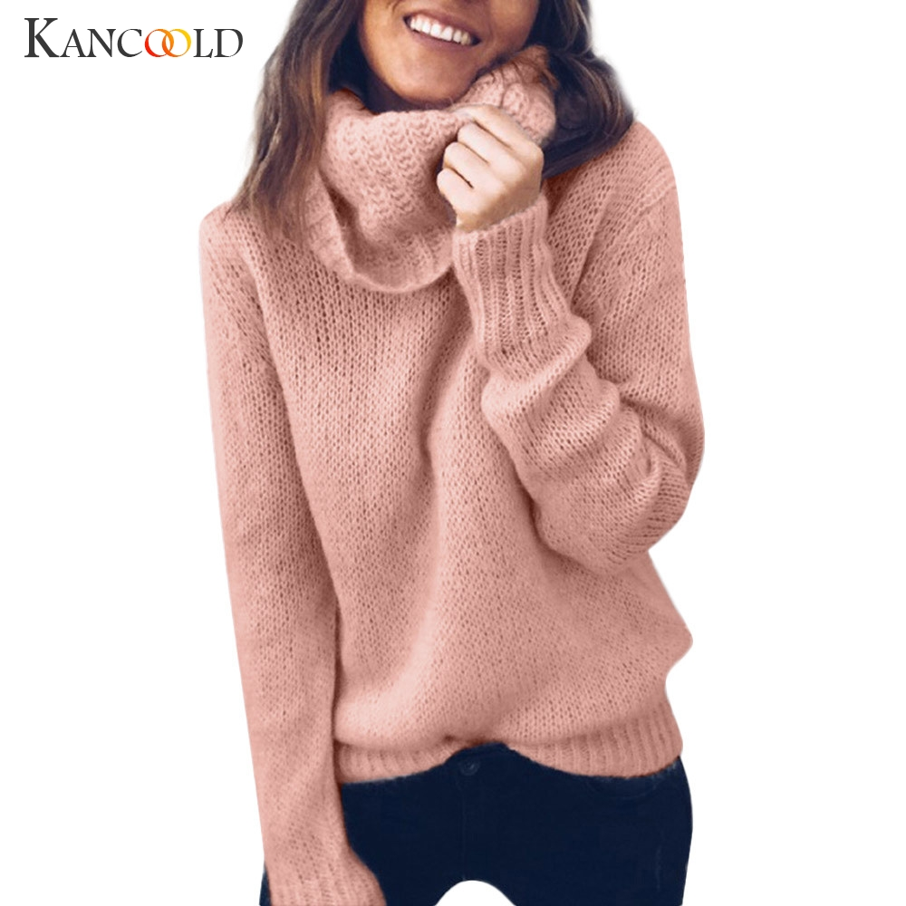 KANCOOLD Casual Loose Autumn Winter Turtleneck Sweater Women Oversize Solid Knitted Sweaters Warm Long Sleeve Pullover Sweater