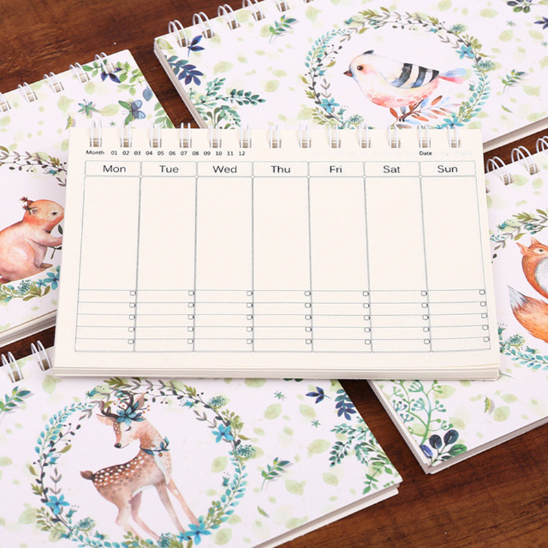 Cartoon Deer A6 Weekly Daily Planner Notebook Agenda Organizer Stationery School Office Supplies Schedule Portable 2019 2020