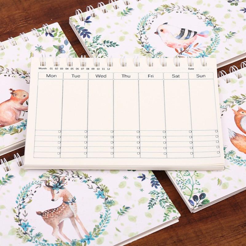 Cartoon Deer A6 Weekly Daily Planner Notebook Agenda Organizer Stationery School Office Supplies Schedule Portable 2019 2020
