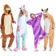 MisShow Unicorn Animal Adult Pajamas Cute Cosplay Unisex Pajamas Set Winter Cartoon Sleepwear Onesie Flannel Nightie цена в Москве и Питере