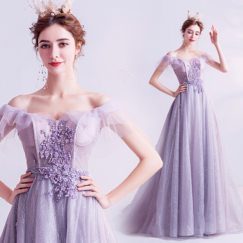 Purple Evening Dress A-line Tulle Lace Beading Pearls Long Formal 2020 New Party Dresses Evening Gowns JK95