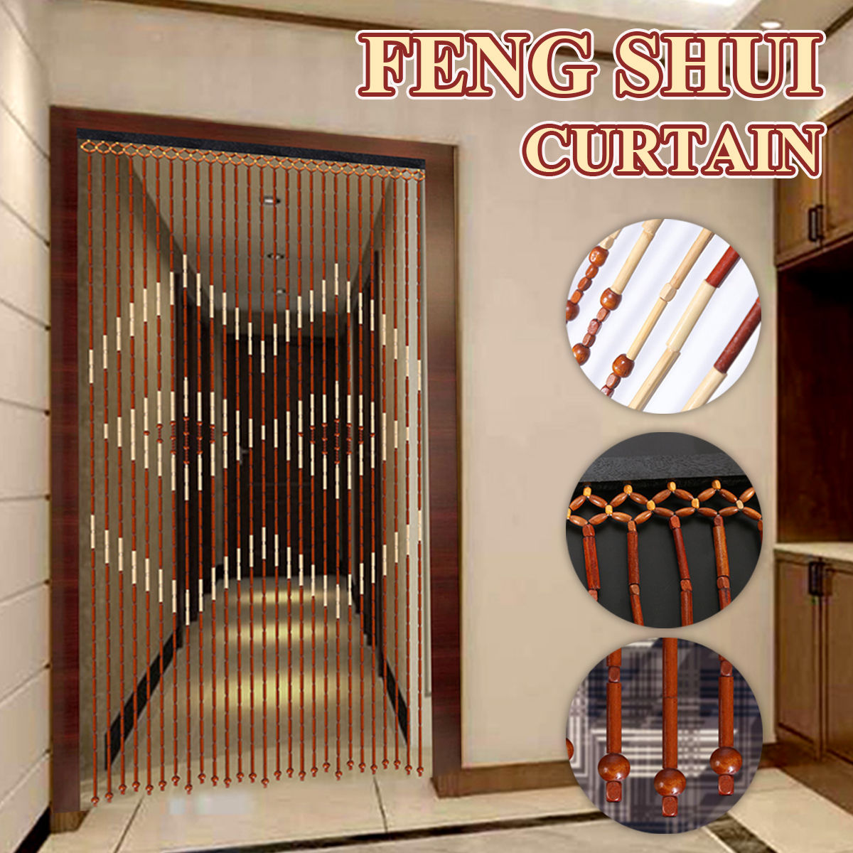 90x180cm Fashion 27 Line Bamboo Wooden Bead String Door Curtain Blinds Fly Screen For Porch Bedroom Living Room Bathroom Shower Curtains Aliexpress