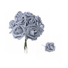 5/10/20 штук 6 см цвета: золотистый, серебристый цветок розы с блестками пена Искусственный цветок розы Букет самодельный венок декоративные рождественские Свадебные украшения