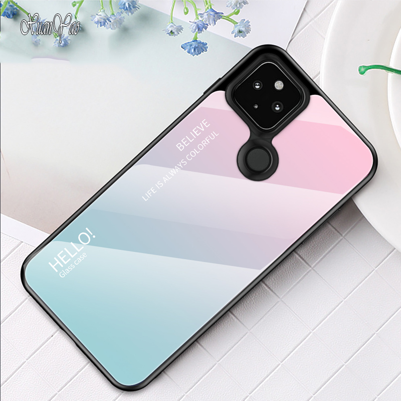 4A 5G 4A 4G Case Original Slim Glass Cover For Google Pixel 2 3 3A 4 5 XL Case Hard Shockproof Cover For Google 5 4A XL