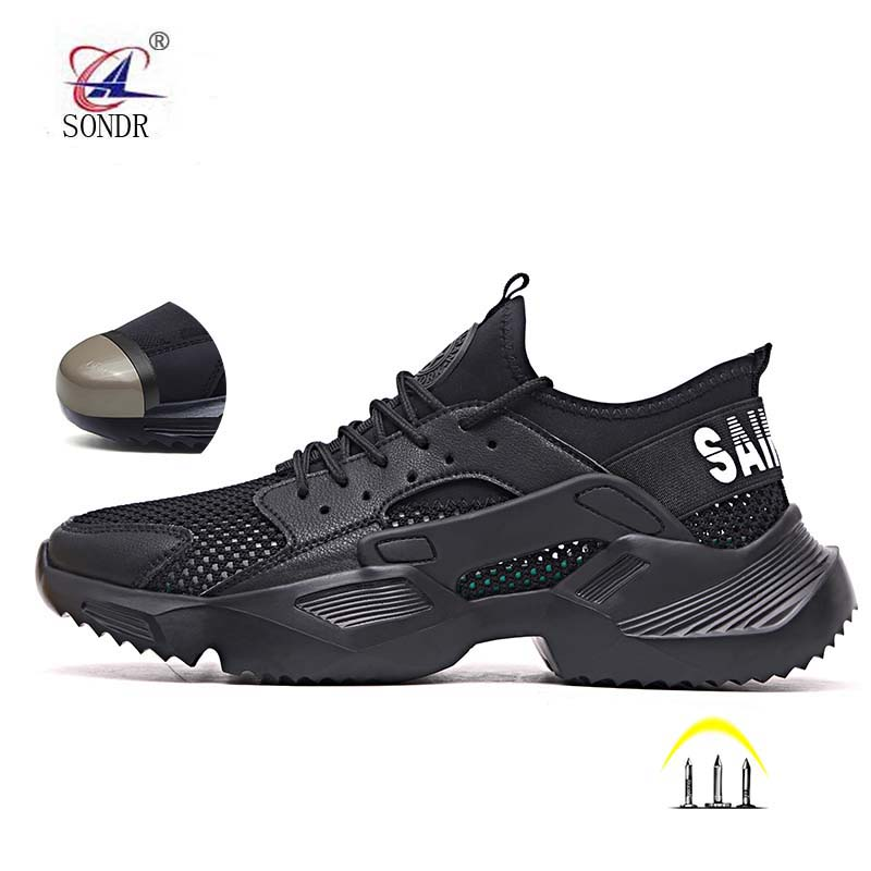 SONDR 2020 Work Safety Shoes 2019 Fashion Sneakers Ultra-light Soft Bottom Men Breathable Anti-smashing Steel Toe Work Boots