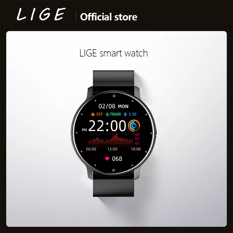 LIGE 2021 New Smart Watch Men Full Touch Screen Sport Fitness Watch IP67 Waterproof Bluetooth For Android ios smartwatch Men+box