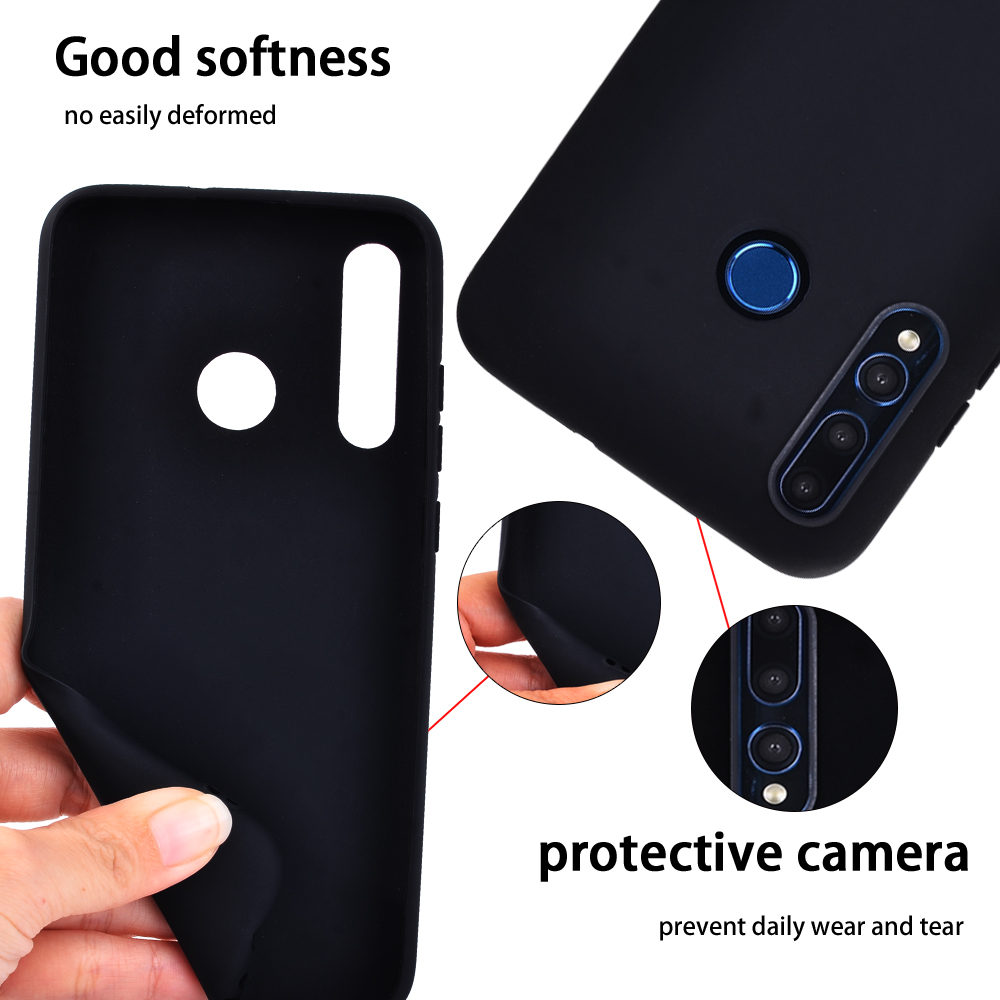 Soft Silicone Cover for Huawei P Smart/P Smart Plus/Honor 10 Lite/Honor 20 Lite  Black Matte Matte Surface Shockproof Case