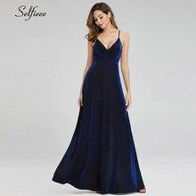 Sparkle safir mavi Maxi elbiseler A Line v yaka Backless spagetti sapanlar zarif yaz elbiseler için parti Jurken Zomer 2020