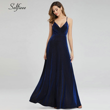 Sparkle safira azul maxi vestidos a linha com decote em v sem costas cintas de espaguete vestidos de verão elegantes para a festa jurken zomer 2020