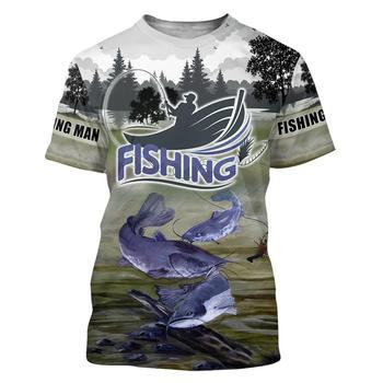 Catfish bluegrey Fishing T Shirt All Over Print