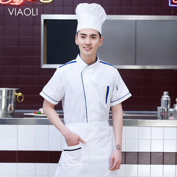 New Food service restaurant catering chef uniform cotton Chef Jackets Breathable hotel uniform bakery cooker waiter shirt unisex unisex chef jacket kitchen restaurant uniform shirt summer chef cook shirt apron hat food service bakery hotel work clothes