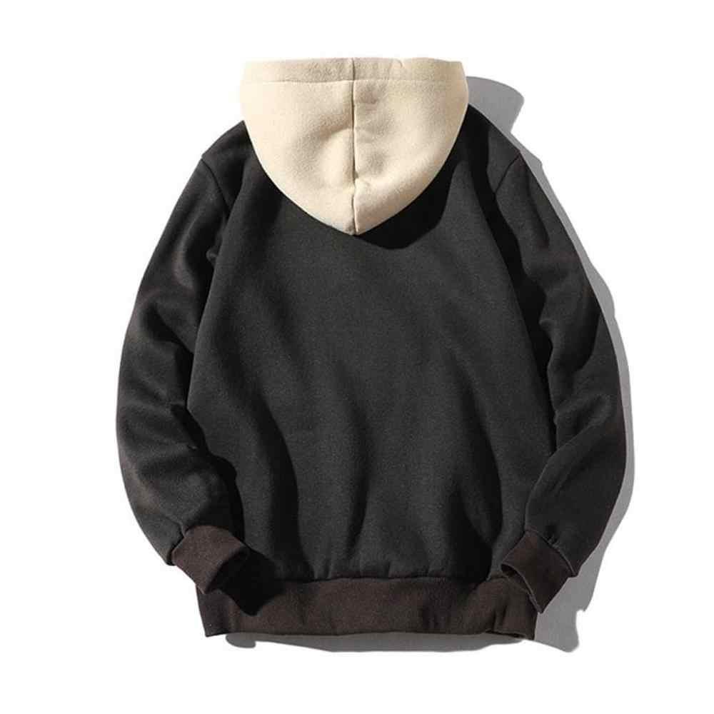 남자의 스웨터 패션 남자 캐주얼 패치 워크 후드 탑 블라우스 셔츠와 포켓 코트 망 스포츠 오버 코트 새로운 스타일