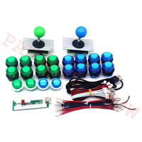 DIY Joystick Kits 2 Players With 20 LED Arcade Buttons + 2 Joysticks + 2 LED USB Encoder Kit + Cables for Arcade Game Parts Set