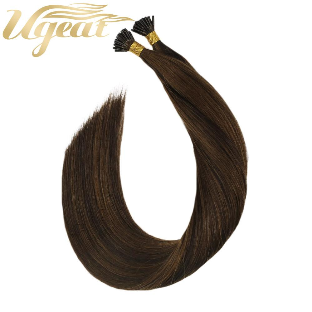 I Tip P2/8 Natural Straight Human Hair Extension Machine Remy Keratin Fusion 0.8g/s 14-24'' Piano Color Pre Bonded Extension