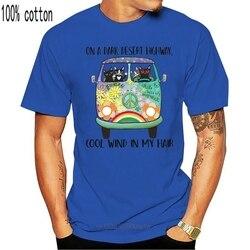 On A Dark Desert Highway Cool Wind In My Hair Hippie Bus Black Cats T-Shirt