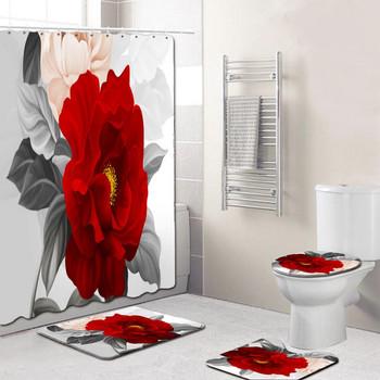 Kwiat wzór drukowanie łazienka wodoodporny prysznic zestaw zasłon mata podłogowa pokrywka dywan toaleta pokrywa zestaw zasłona wanny zestaw mat tanie i dobre opinie Poliester Nowoczesne W paski Ekologiczne Bathroom Shower Curtain Waterproof polyester Bathroom Living room