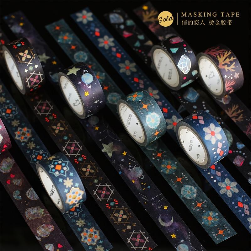 1.5mm Gilding Night Atlas Retro Series Bullet Journal Washi Tape Adhesive Tape DIY Scrapbooking Sticker Label Masking Tape