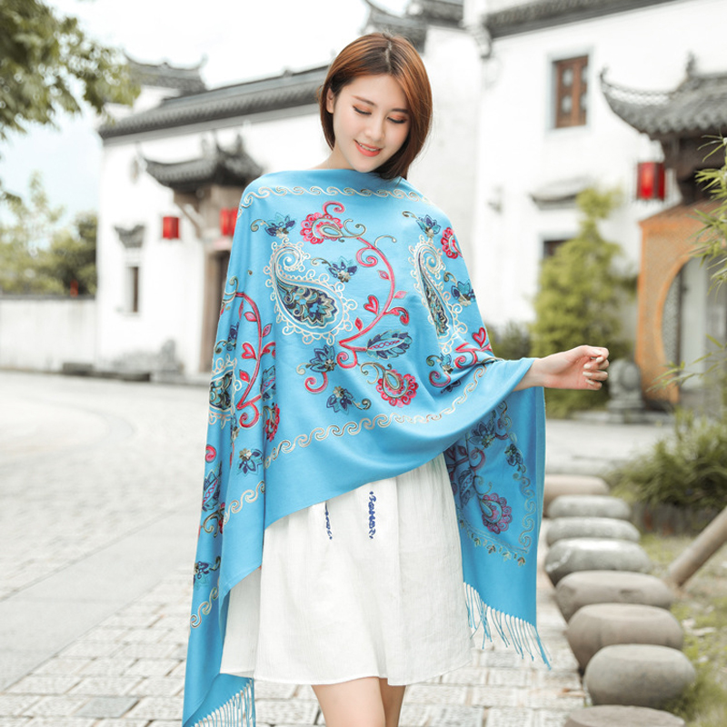 Bridal Capes Blanket Shawl Soft Colorful Wrap Floral Embroidery Russian Retro Style elegant scarf women накидка женская