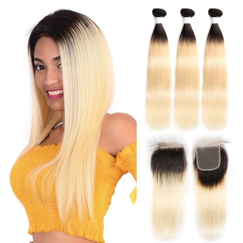 1B 613 Platinum Blonde Human Hair Bundles With Closure 4x4 Brazilian Straight 3 Bundles With Closure EUPHORIA Ombre Remy Hair