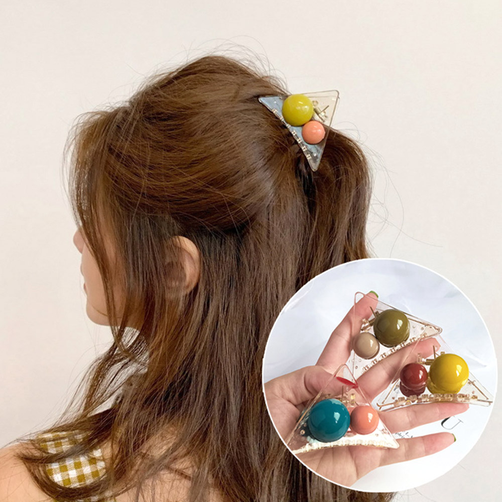 2019 INS Women Girls Triangle Ball Hair Claws Acrylic Hair Clips Barrette Crab Clamp Scrub Hairpins Headwear Hair Accessories