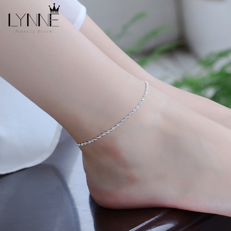Fashion Twisted Weave Chain For Women Anklet Hot Sale 925 Sterling Silver Anklets Bracelet For Women Foot Jewelry Anklet On Foot 2