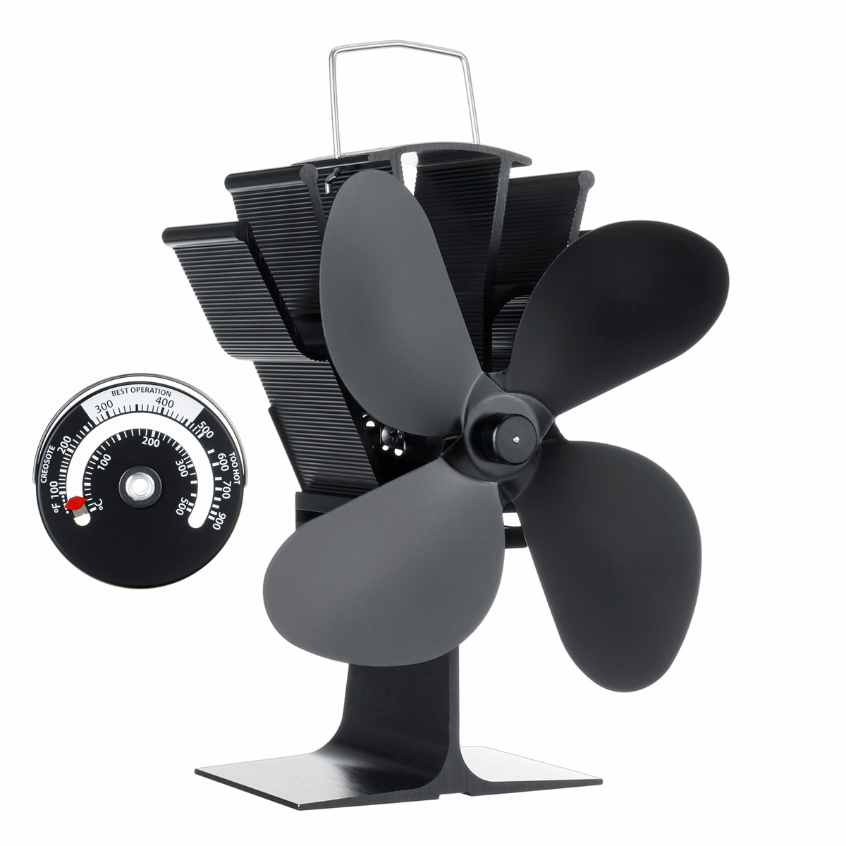 Black Fireplace Fan 4 Blade Heat Powered Stove Fan With Temperature Monitor Wood Burner Fan For Home Efficient Heat Distribution