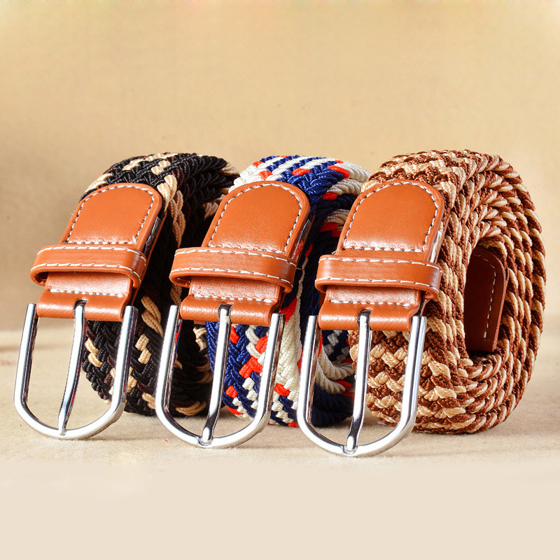 Wide Belt Jeans Dress Buckle Braid Knitted Elastic Metal Fashionable Women New Unisex title=