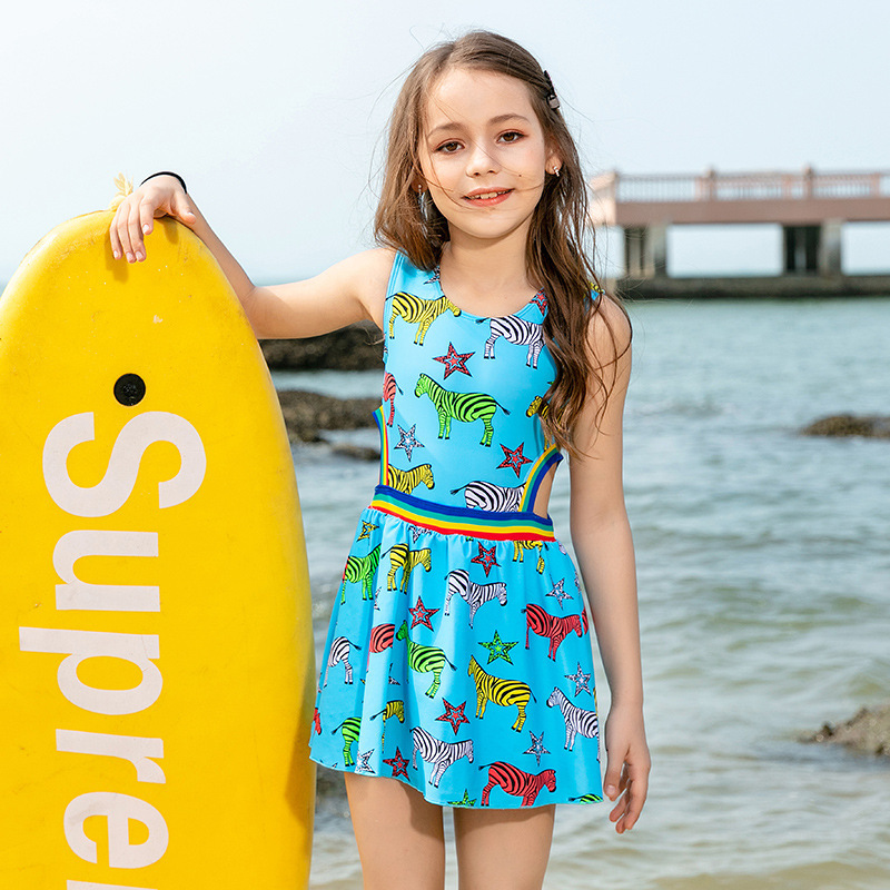 New Style CHILDREN'S Cartoon Swimwear GIRL'S Swimsuit Skirt One-piece Princess Cute Baby CHILDREN'S Small Middle And Large Girls