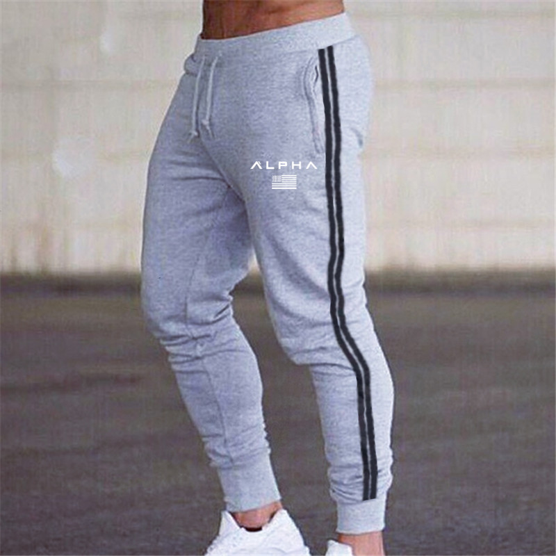 Men Joggers Pants Brand Casual Striped Male Trousers Black Grey Cotton Sweatpants Mens Fitness Workout Pantalon Homme 3XL