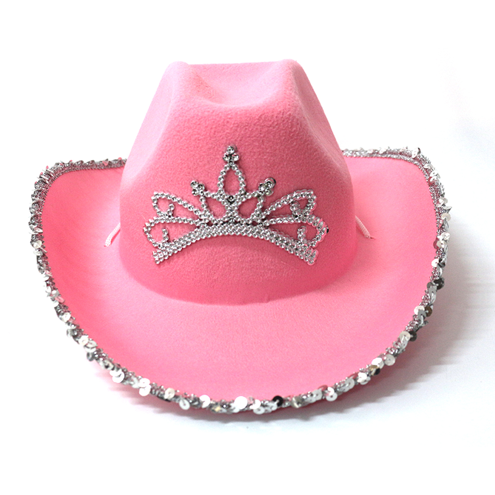 Western Style Tiara Cowgirl Hat for Women Girl Pink Tiara Cowgirl Hat Cowboy Cap Holiday Costume Party Hat