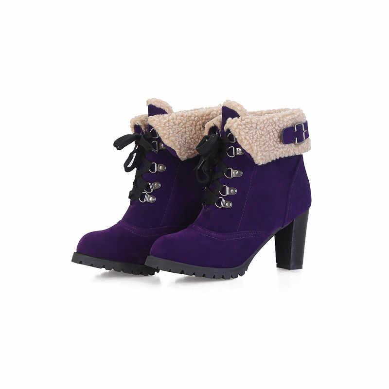 ASUMER 2020 büyük boy 44 kadın yarım çizmeler akın yuvarlak ayak kış kar botları lace up yüksek topuklu elbise parti düğün ayakkabı kadın
