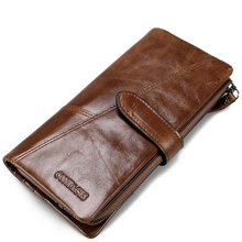 Oryginalne męskie portfele skórzane długie etui na karty kredytowe portfel na telefon moneta torebka luksusowe męskie kopertówki portfele poręczne tanie tanio LY SHARK Prawdziwej skóry Skóra bydlęca long 300g Poliester Genuine Leather Patchwork vintage C25G74 65 66 Zamek poucht