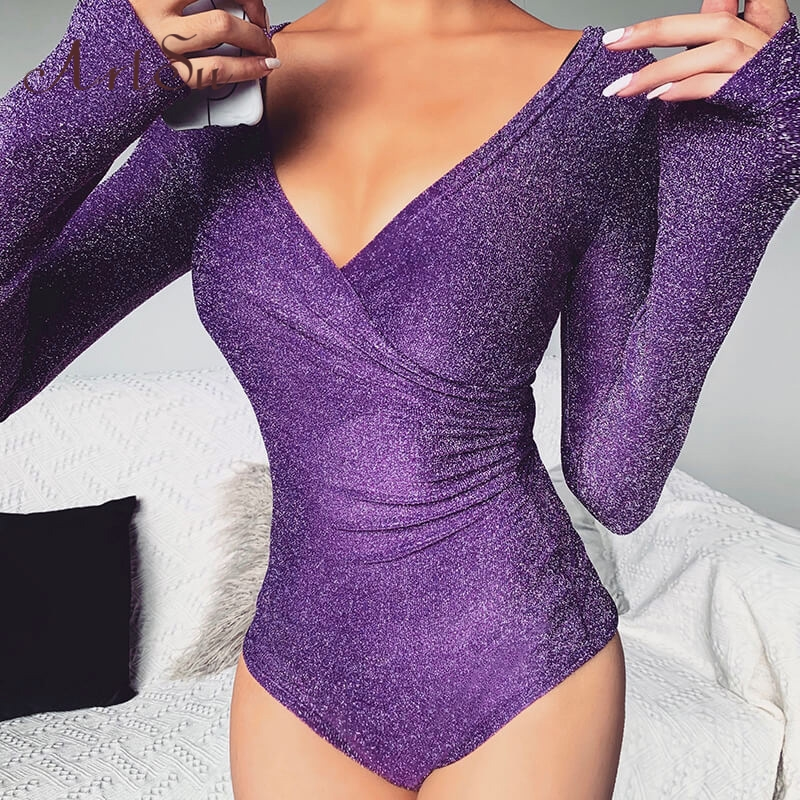 Artsu Reflective Cross Bodysuit Women Sexy Long Sleeve V-neck Spring Fahsion Tops Bodycon Party Club Solid Body Suit ASJU70153