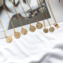 Ailodo Vintage Carved Gold Coin Roman Necklace For Women Boh