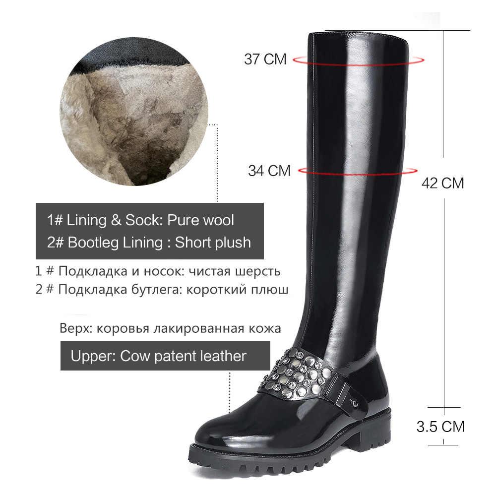 Donna-in เข่ารองเท้าผู้หญิงแพลตฟอร์ม COW สิทธิบัตรหนังหญิง Booties รอบ Toe กลางส้นสูงสีดำฤดูหนาวรองเท้าสำหรับสตรี