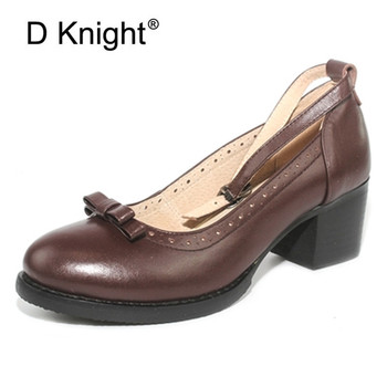 Japanese Buckle Strap Bow Women Oxfords High Thick Heels Lolita Shoes British Genuine Leather Single Brogues Shoes Woman Pumps