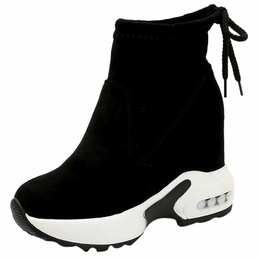 Botas de tornozelo para mulher cunhas saltos pretos botas de esportes ao ar livre laço-up rebanho botas de plataforma feminina botas de dedo do pé redondo botas mujer