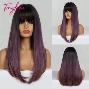 Image 5 - TINY LANA Long Colorful Straight Synthetic Wigs Black Ombre Brown with bangs for Black Women Heat Resistant Party&Cosplay Hair