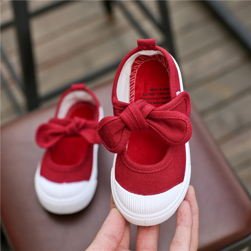 New Children Shoes Girls Canvas Shoes Fashion Bowknot Comfortable Kids Casual Shoes Sneakers Toddler Girls Princess Shoes