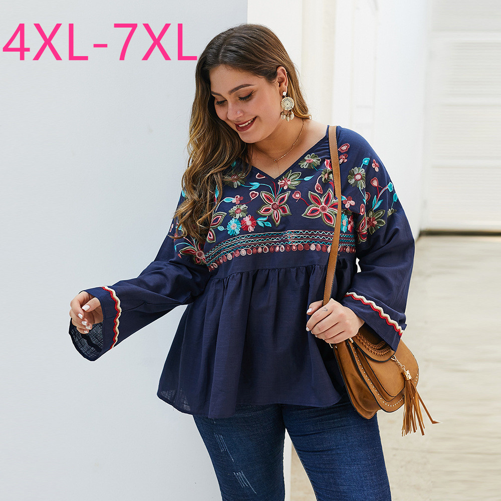 New spring autumn plus size tops for women blouse large loose casual long sleeve blue floral embroidery shirt 4XL 5XL 6XL 7XL