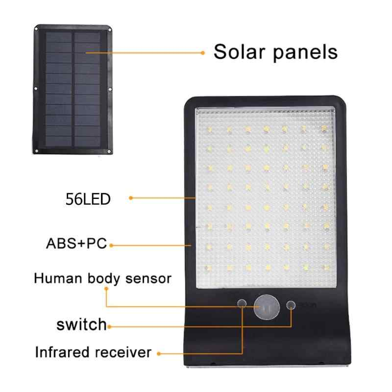 56LED lámpara Solar luz de jardín PIR Sensor de movimiento luz Solar de la pared al aire libre impermeable lámpara de calle de jardín con Control remoto Durable nuevo