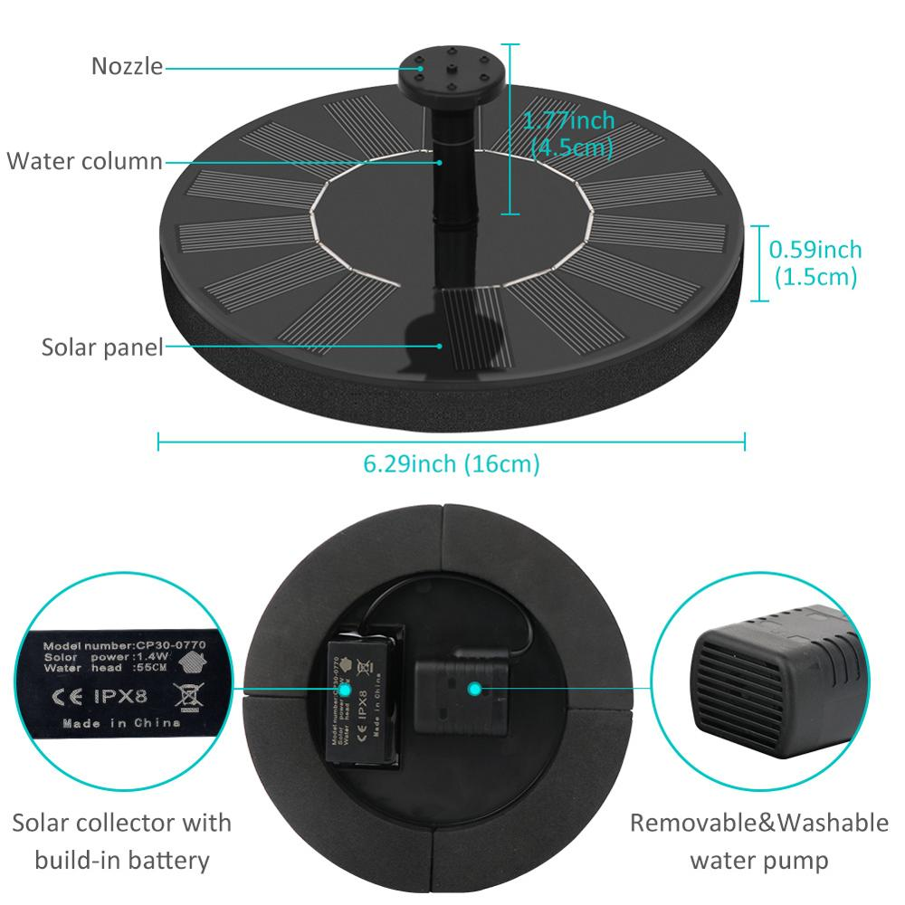 Solar Water Fountain Pool Pond Waterfall Fountain Garden Decoration Outdoor Bird Bath Solar Powered Fountain Floating Water 5