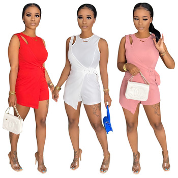 Echoine 2020 Summer Women solid o-neck sleeveless cut out splicing bodysuit streetwear fashion playsuit one piece romper overall cut out neck crop solid tee