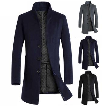 Men Winter Long Sleeve Stand Collar Buttons Pockets Warm Woolen Trench Coat Winter High Quality Men's Luxurious Brand Clothing