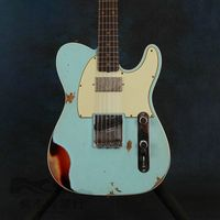 handed electric guitar , with blue color , rosewood fingerboard , relics by hand , high qulity Chinese guitar , make all guitars